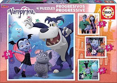 Educa- Puzzles Progresivos 12-16-20-25 Vampirina Puzzle, Colore Vario, 17941
