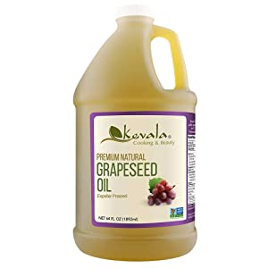Kevala Grapeseed Oil, 1/2 Gallon (64 fl oz), Premium Natural, Expeller Pressed