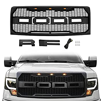 Motorium Front Grill Replacement for F150 2009-2014 with Amber LED Lights Raptor Style Grille  Matte Black
