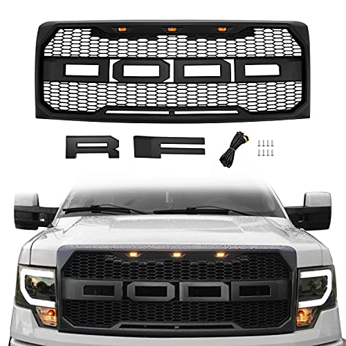 Motorium Front Grill Replacement for F150 2009-2014 with Amber LED Lights, Raptor Style Grille (Matte Black)