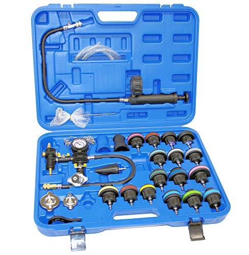 ROTOOLS Abdrückgerät für Kühler Autokühler Kühlertester Kühlsystemtester Werkzeug 28 teilig blau