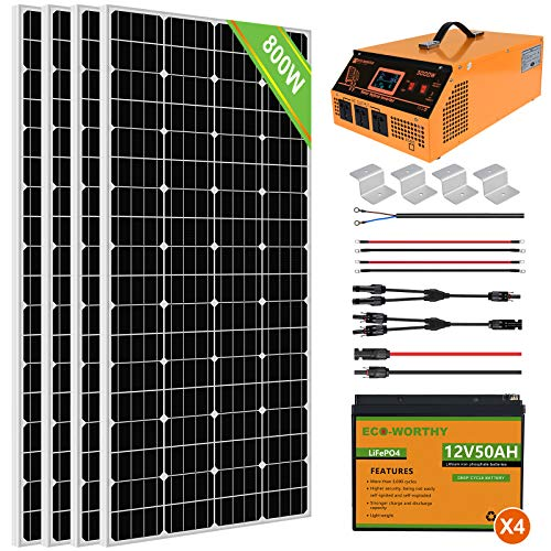 ECO-WORTHY 800W 3.2KWH Solar Power System Kit for Home House: 4pcs 195W Solar Panels + All-in-one Solar Charger Inverter + 4pcs 50Ah Lithium Battery