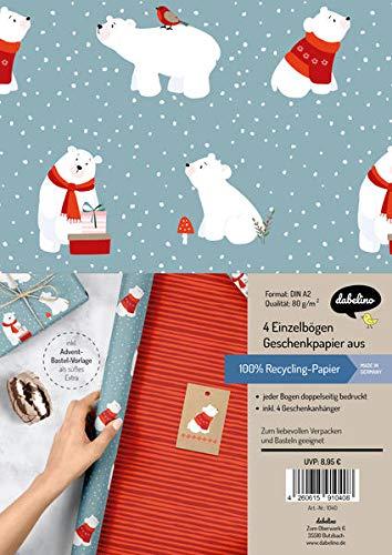 Geschenkpapier Set Weihnachten: Eisbär (für Kinder): 4x doppelseitige Einzelbögen + 4x Geschenkanhänger