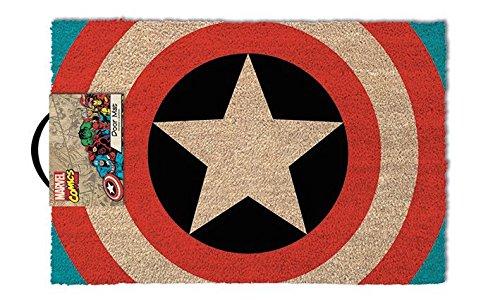 Pyramid International Captain Shield Door Mat Alfombra para Puerta, con Logo del Capitán América, Multicolor, 60_x_40_cm