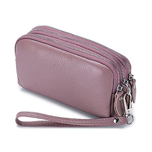 Bolso de cuero de vaca de tres cremalleras para mujer, cartera de gran capacidad de embrague largo con llavero, Raíz de loto púrpura, S, moderno