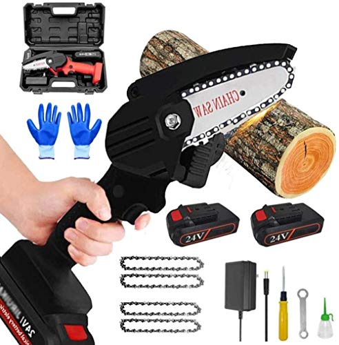 ZHIFENGLIU 4 Inch Mini Chainsaw Best Cordless Chainsaws 24V Portable Electric Chainsaw Long Battery Life Pruning Shears Chainsaw for Backyard Tree Branch Wood Cutting-Black