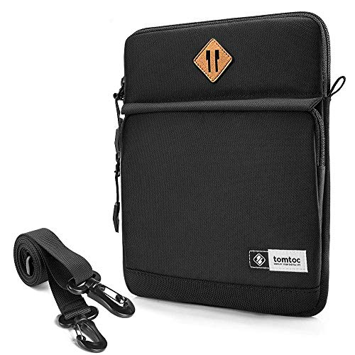 tomtoc 12.9 Inch Tablet Sleeve iPad Shoulder Bag Compatible with 12.9-inch New iPad Pro (3rd -4th Gen) 2018-2020 with iPad Pencil & Smart Keyboard and Logitech Slim Folio Pro Case, Black