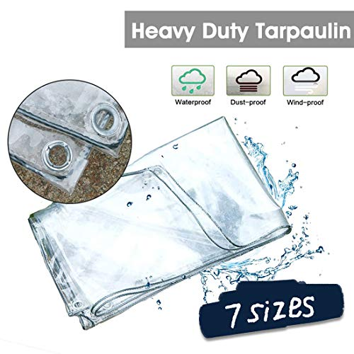 LXXTI Beschermzeil, 12mil(0,3 mm) transparant zeildoek waterdicht per meter met oogjes Vergestikte hoeken, waterafstotend dekzeil