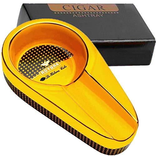 roygra Cigar Ashtray 1 Pack for Men Outdoor Patio Ceramic Single Ashtrays Portable Travel Porcelain Luxury Cigars Ash Tray (Orange - 1 Pack)