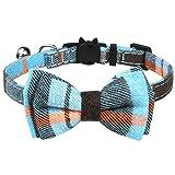 TagME Liberación rápida Collar de Gato, con Pajarita & Campana, Ajustable de 18 a 25 cm, 1 Paquete (18-25cm, Neblina Azul)