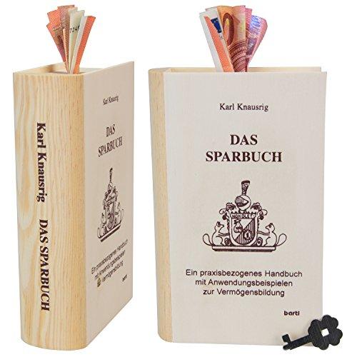 Sparbuch Karl Knausrig - Spardose in Buch Optik aus Holz mit Spruch Gravur groß XXL - Geldgeschenk kreativ verpacken zum Geburtstag oder als Hochzeitsgeschenk Verpackung, Holzsparbuch