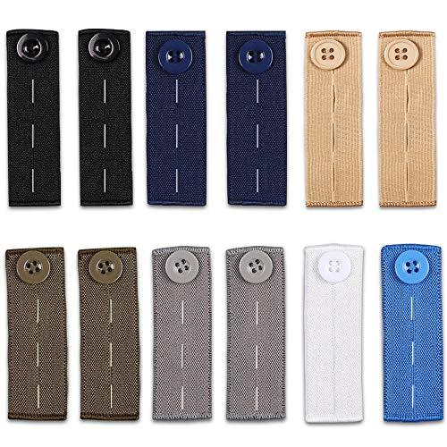 12 Pcs Elastic Waist Extenders, Adjustable Waistband Expanders for Men and Women, Jeans Pants Button Extender Set (7 Colors)