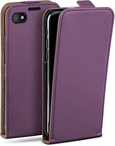 moex Flip Hülle für BlackBerry Z30 - Hülle klappbar, 360 Grad Klapphülle aus Vegan Leder, Handytasche mit vertikaler Klappe, magnetisch - Lila