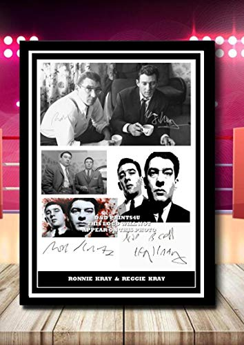 (#326) THE KRAYS RONNIE & REGGIE KRAY SIGNED A4 FRAMED PHOTOGRAPH (REPRINT) GREAT GIFT @@@@@