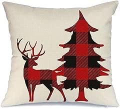AENEY Christmas Pillow Cover 18x18 inch for Christmas Decor Deer and Christmas Tree Buffalo Check Throw Pillow Black and Red Buffalo Plaid Christmas Decorations Throw Pillow Cover