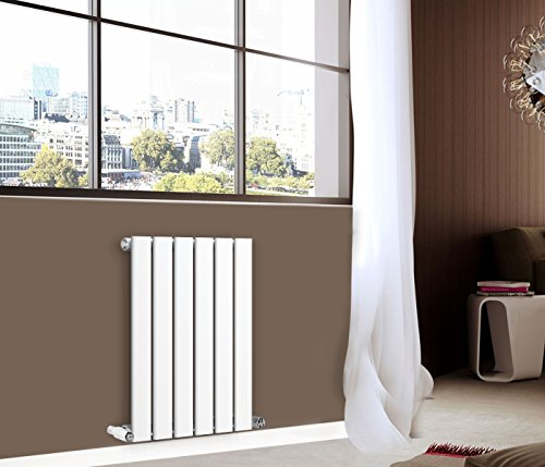 NRG 600x408 mm White Column Designer Radiator Horizontal Single Flat Panel