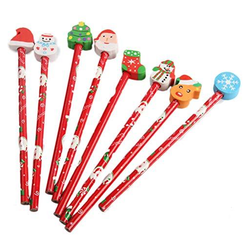 Toyvian 12 Stück Weihnachten Themenstifte mit Radiergummi Holz Urlaub Bleistifte Neuheit Bleistifte für Kinder (zufällige Muster)