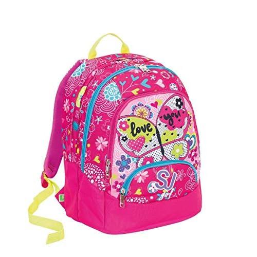Schoolpack Seven SJ Girl Zaino Maxi tondo ROSA con astuccio quick case attrezzato