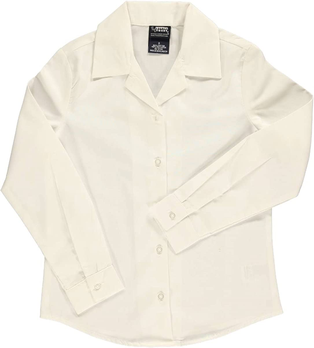 French Toast Big Girls' L/S Notched Collar Blouse
