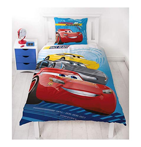 Character World Disney Pixar Cars 3 Race Ready Auto Motiv Kinder Bettwäsche Wende Motiv - 2 TLG. Kissenbezug 80x80 + Bettbezug 135x200 cm - 100% Baumwolle