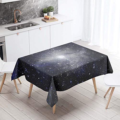 Enhome Manteles de Poliester Rectangular Mantel Rectangular Impermeable Antimanchas Nordico Moderno Mantel Decorativo para mesas rectangulares Cocina Comedor (Cielo Estrellado Azul,90x90cm)