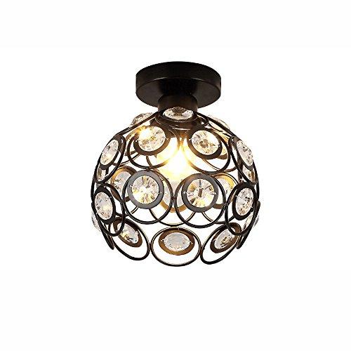 LED Kristall Deckenleuchten, moderne einfache Schwarz/Weiß Eisen-Aisle-Beleuchtung Kleiner Anhänger Deckenlampen Europäische Wohnzimmer Schlafzimmer Möbel Deckenleuchte (Color : Black)