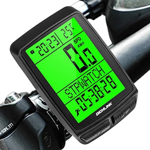 Dichlink Fahrradcomputer Kabellos, Fahrradtacho Wasserdicht Großer LCD-Bildschirm, 20 Funktionen Tacho Fahrrad kabellos Zeitschaltuhr, 5 Spracheinstellungen