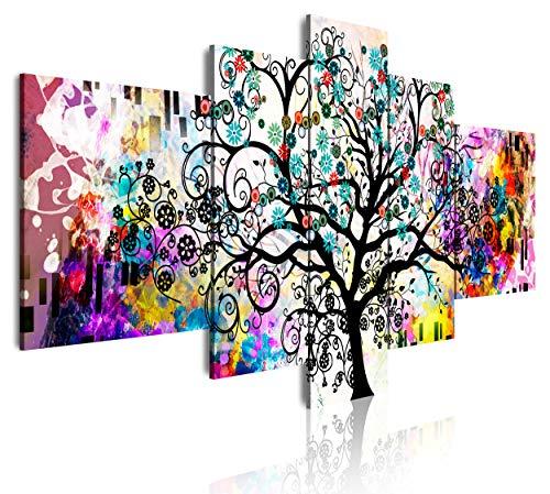 DekoArte 510 - Cuadros Modernos Impresión de Imagen Artística Digitalizada | Lienzo Decorativo para Salón o Dormitorio | Estilo Abstracto Arte Árbol de la Vida de Gustav Klimt | 5 Piezas 180x85cm XXL
