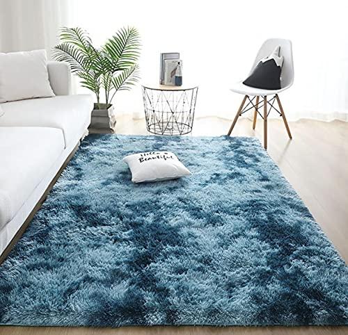 Alfombras de Interior Modernas Ultra Suaves LYKEJI, alfombras mullidas para Sala de Estar, adecuadas para el Dormitorio de los niños, decoración del hogar, alfombras de guardería (Azul, 60 x 160 cm)
