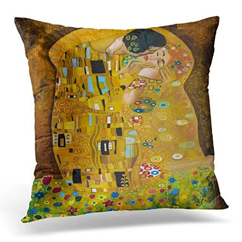 Topyee Funda de cojín marrón Inspirada en Klimt Abstracto Batik Pintura Groundav 45 x 45 cm decoración del hogar Throw Pillow Cover Square Funda de Almohada para Cama sofá