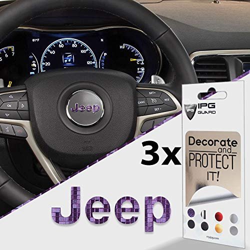 IPG for Jeep Steering Wheel Overlay Decal Vinyl Cover Set of 3 for Emblem Do it Yourself Stickers Set Personalize Your Jeep (Purple to Blue Chameleon)