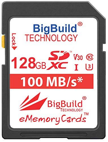 BigBuild Technology 128GB Ultra Fast U3 100MB/s Speicherkarte für Canon EOS 250D, Canon EOS 90D Kamera, Class 10 SDXC
