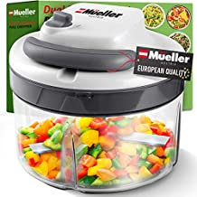 Mueller Austria Strongest-and-Heaviest Duty Dual Speed Pull Chopper Vegetable Cutter for Nuts, Garlic and More, Manual Food Processor - Vegetable Slicer and Dicer, 40.5oz No BPA Bowl