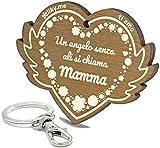 LIKY  Mamma - llavero original de madera - Un angelo senza ali si chiama Mamma - grabado regalo para Día de la madre mujer cumpleaños pasatiempo colgante bolso mochila