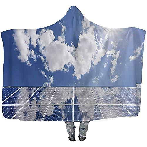 L.R.D Solar Panels Fleece zacht draagbaar capuchon deken, microvezel warme winter nieuwigheid draagbaar deken 50