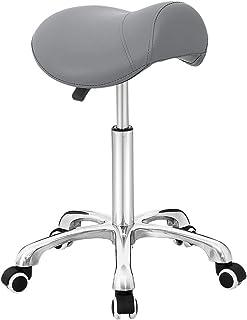 كرسي متدحرج لسناد التدليك المكتبي صالون المطبخ السبا، قابل للتعديل هيدروليكي مع عجلات (رمادي)