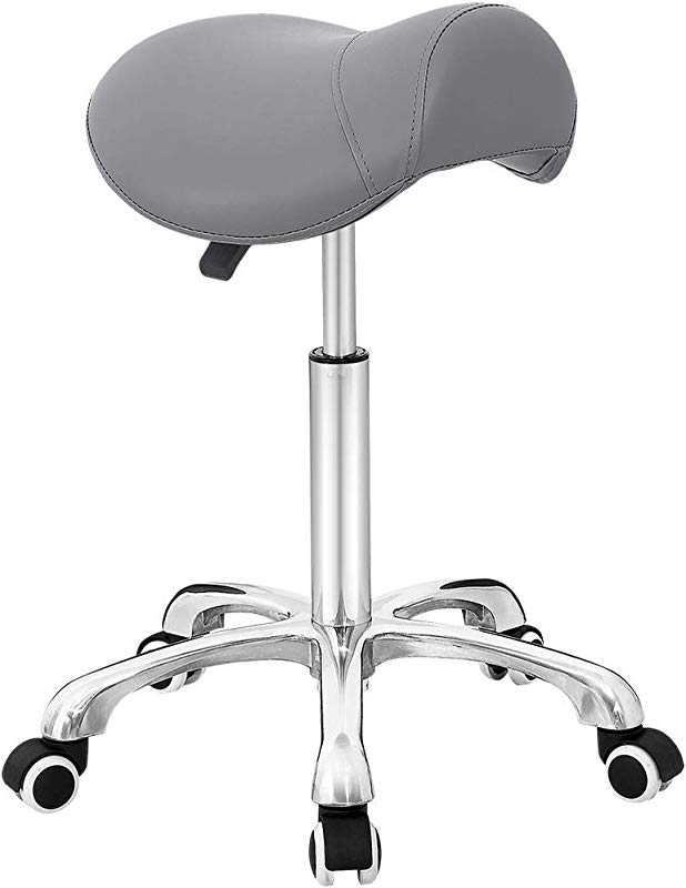 Antlu Saddle Stool Rolling Chair For Office Massage Salon Kitchen Spa Drafting Adjustable Hydraulic With Wheels Gray
