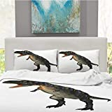 CUDEVS 3D Rendering Dinosaur Aucasaurus on White,Queen Sheets Sets for Boys Singe