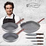 San Ignacio PK2050 Granito set 3 sartenes 24/26 + plancha 28x28 cms + 4 cuchillos, Aluminio Forjado