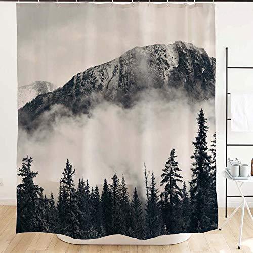 Green Mountain Duschvorhang für Badezimmer, Nebel Wald, Stoff Duschvorhang, Nebel-Natur-Foto, Landhausstil Park