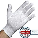 Dermatest: Sehr Gut - Lavamed® Baumwollhandschuhe - extra weiche Baumwoll-Handschuhe aus 100% Baumwolle - Trikothandschuhe - weiße Zwirnhandschuhe - Premium Kosmetikhandschuhe (3 Paar, M)