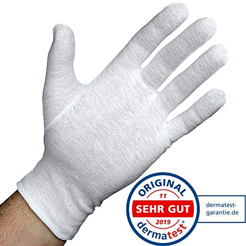 Dermatest: Sehr Gut - Lavamed® Baumwollhandschuhe - extra weiche Baumwoll-Handschuhe aus 100{f9cbdcce702125cffdf0e5ced36d3aad8be54051cc9fe1694962679b493976ab} Baumwolle - Trikothandschuhe - weiße Zwirnhandschuhe - Premium Kosmetikhandschuhe (3 Paar, L)