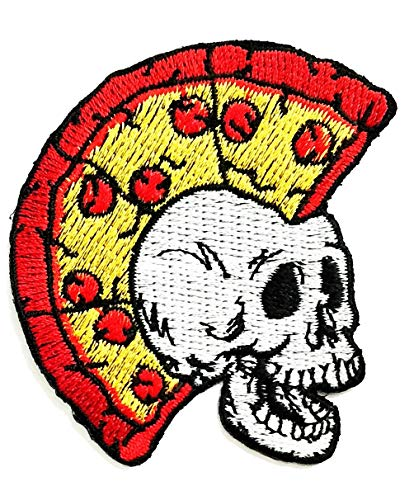 Nipitshop Patches Fantasy Pizza Skull Punk Rock Hair Style Cartoon Kid Patch Embroidered DIY Patches Cute Applique Sew Iron on Kids Craft Patch for Bags Jackets Jeans Clothes