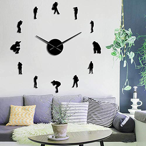 Fotógrafos Hobby Decor Wall Art DIY relojes de pared grandes Cool Cameramen sin marco reloj de pared con espejo Lensman número pegatinas (negro, 37 pulgadas)