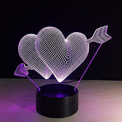giyiohok 3D Visual Illusion Night Light Colorful Led Table Lamp Remote Touch Romantic Holiday Love Heart for Wedding Decor Acrylic Lamp