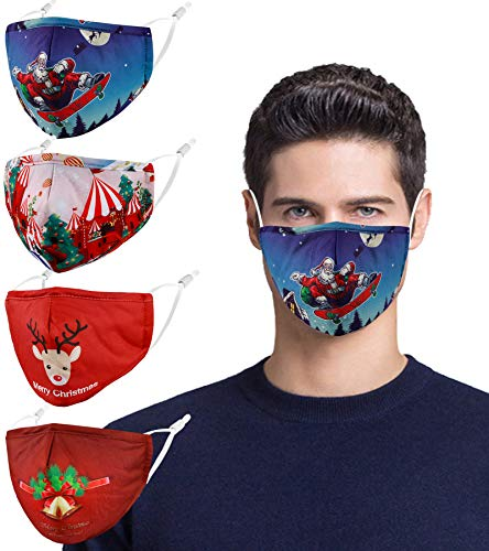 Reusable Cloth Winter Face Masks Women Men Adult, Red Designer Breathable Washable Adjustable Cotton Fabric Madks 4 Pack Mascarillas Tela para Diseño, Santa Claus for Women. Cute Funny
