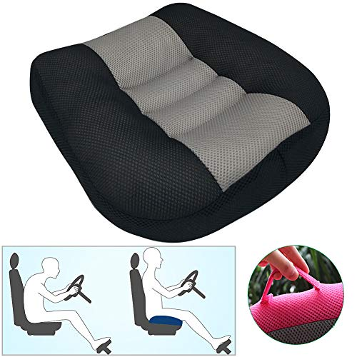 Portable Car Seat Cushion Pad for Car Driver Seat Office Chair, Breathable Mesh Car Booster Seat Cushion Heightening Height, Increase The Field by 4.7/3.5/2.3 inch,BlackGrey,40x40x12cm