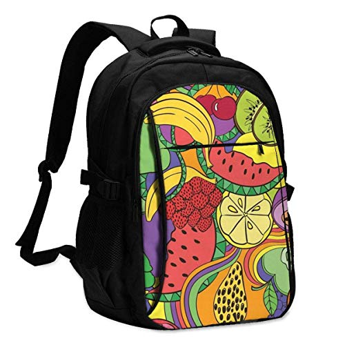 XCNGG Laptop Backpacks Tactical Funny Abstract Psychedelic Colorful Fruit Seamless Pattern Office & School Supplies with USB Data Cable and Music Jack Laptop Bags Computer Notebook 18.1X13.3 inch