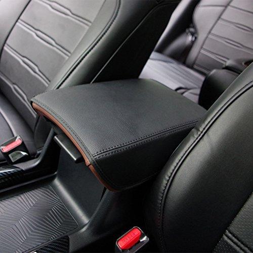 BEHAVE Car Armrest Cover Saver, 1 Piece Armrest Cover Fit for Honda CRV 2017 2018 2019 Central Console Armrest Box CRV,Black with Black Stitches