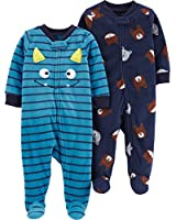 Carter's Baby Boys 2-Pack Fleece Footed Sleep and Play, Monster face/Animals, Newborn